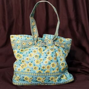 Maggie B green blue quilted tote